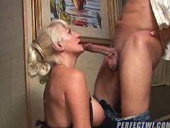 Huge hard cock fucks this horny wet granny
