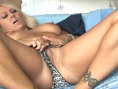 Long blonde haired milf Chennin Blanc rubs her steamy pussy before introducing it to a thick dildo
