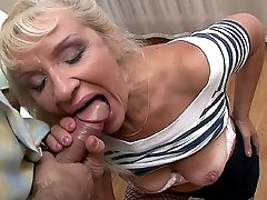 Horny granny enjoying a mouthful of cock