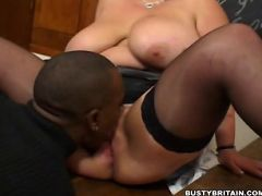 Big tits Keira getting licked and doggy fucked by black cock