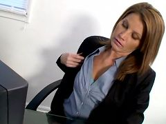 Horny business woman pleasures her pussy with the rabbit toy on her lunch break