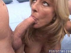 Busty blonde milf gives a great tit-wank and gets her vintage pussy fucked hard